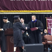 6Danville campus graduate Melinda Holtzclaw accepts her diploma from Dr. Kraska,