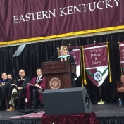Dr. Janna Vice delivers the commencement speech for the Spring 2016 graduation 5-14-16