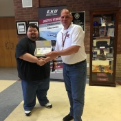 EKU Machester student William Hollen with LAE membership certificate