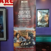 Justice Studies Regional Campuses Pop-Up Banner on display at the London Cinema 6-1-2015