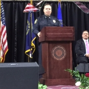 Keynote speaker Chief Mark Barnard of the Lexington Police Department addresses graduates at the CJS Commencement 5-16-15