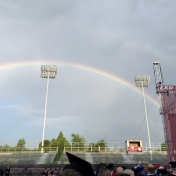 Rainbow over Roy Kidd Stadium at the Spring Commencement 5-15-15