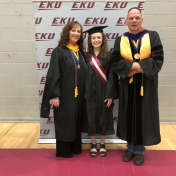 Spring 2019 EKU Manchester Campus Graduate Tracey Hubbard with CJ Lecturers Carl